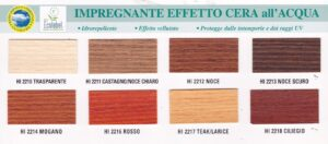 Sayerlack HI221X impregnante acqua effetto cera colori vari etichetta colori