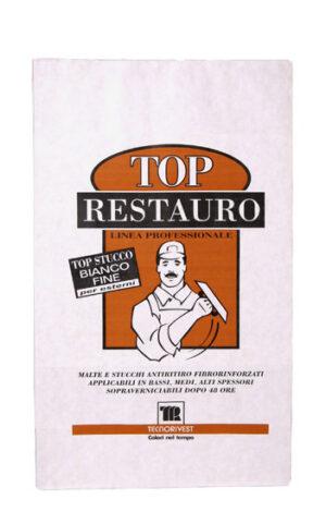 Stucco rasante in polvere Bianco fine Top Restauro Tecnorivest etichetta