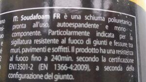 Schiuma poliuretanica antifuoco Soudafoam Fire Range (750 ml) - Soudal - etichetta retro descrizione