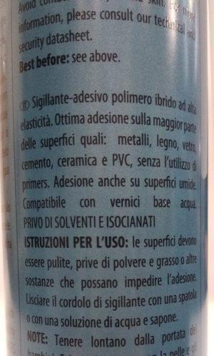 Sigillante ad alta elasticità Multibond MS35 Grigio Soudal etichetta retro