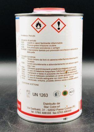 Acetone per vernici professionale 1 litro etichetta retro